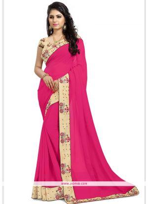 Pink Georgette Wedding Designer Saree