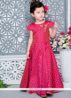 Pink Jacquard New Designer Kids Wear Gown For Little Girl
