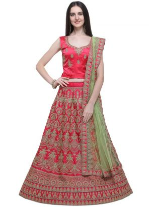 Pink Naylon Satin Party Wear Lehenga Choli