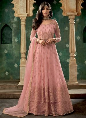 Pink Net Latest Design Lehenga Style Dress For Bridal