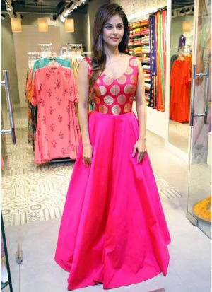 Pink New Arrival Of Special Gown Stye Dress Collection For Festival