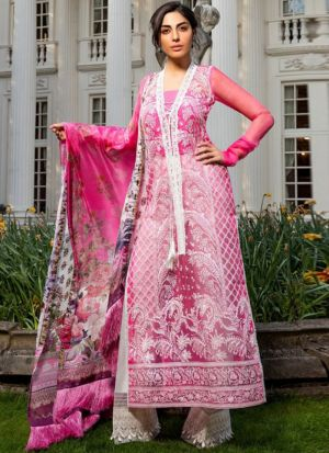 Pink Organza Tissue Embroidered Staraight Pakistani Salwar Kameez
