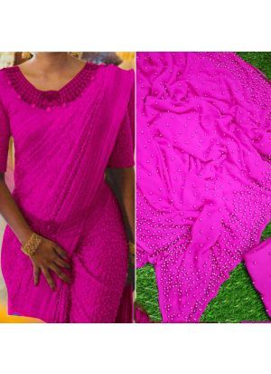 Pink Pearl Work Georgette Party Wear Saree
