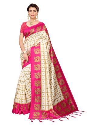 Pink Printed Art Silk Latest Traditional Saree