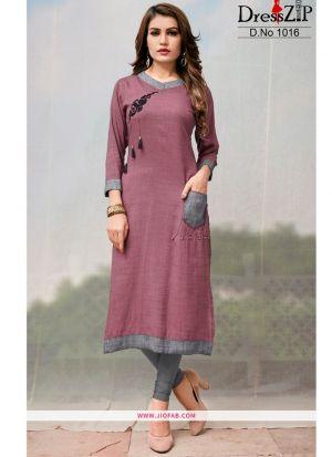 Pink Rayon Plain Heavy Designer kurti
