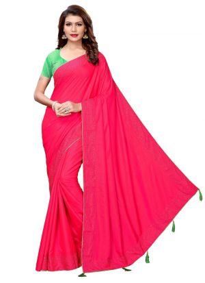 Pink Sana Silk Solid Party Wear Designer Saree