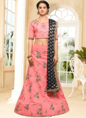 Pink Silk Indian Wedding Lehenga Choli