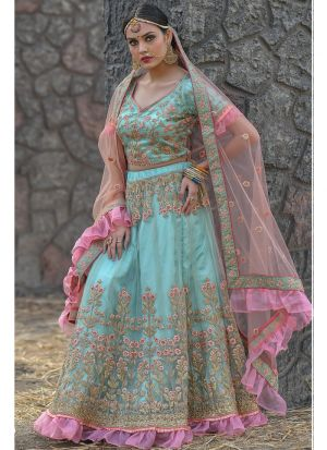 Pista Butterfly Net Party Wear Lehenga Choli