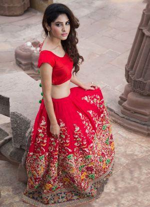 Pleasant Red Color Thread WorkWork Lehenga Choli