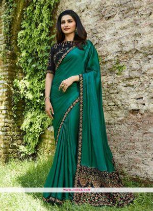 Prachi Desai Dark Green Sparkle Silk Embroidered Bollywood Saree