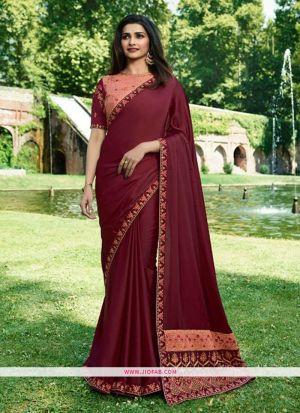 Prachi Desai Maroon Embroidered Sparkle Silk Bollywood Saree
