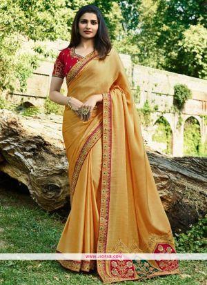 Prachi Desai Yellow Sparkle Silk Embroidered Bollywood Saree