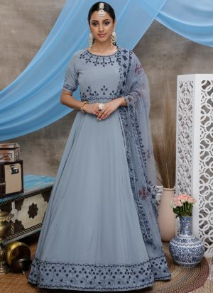 Pretty Grey Georgette Fabric Party Wear Anarkali Suit