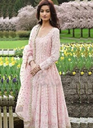 Pretty Look Baby Pink Chain Stitch Salwar Suit