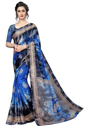 Printed Blue Color Jute Silk Saree
