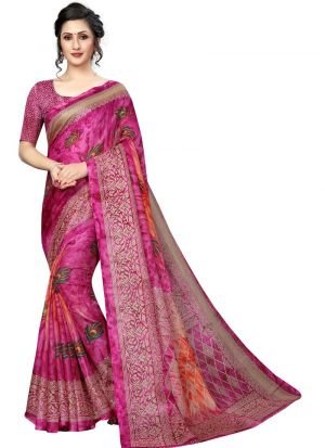 Printed Pink Jute Silk Saree