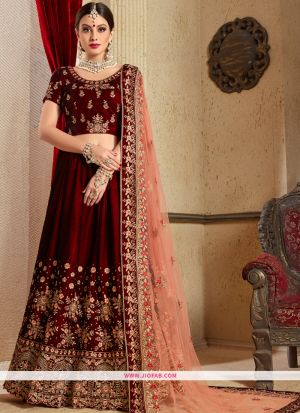 Pure Velvet Designer Wedding Wear lehenga Choli In Maroon Color