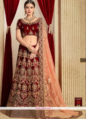 Pure Velvet Indian Lehenga Choli For Diwali Celebration In Maroon Color