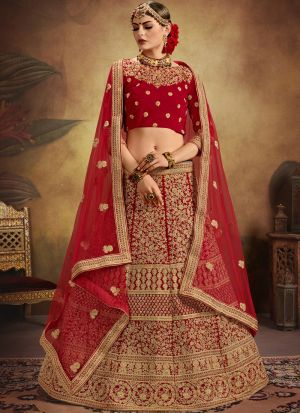 Pure Velvet Red Designer Exclusive Bridal Lehenga Choli Soft Net Dupatta