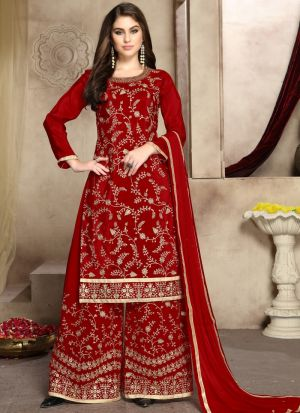 Pure Viscose Upada Silk Red Party Wear Palazzo Style Salwar Suit