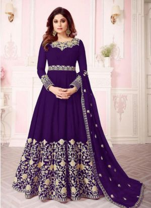 Purple Georgette Designer Shamita Shetty Floor Length Salwar Suit