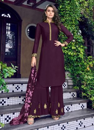 Purple Silk New Launching Sharara Suit For Party