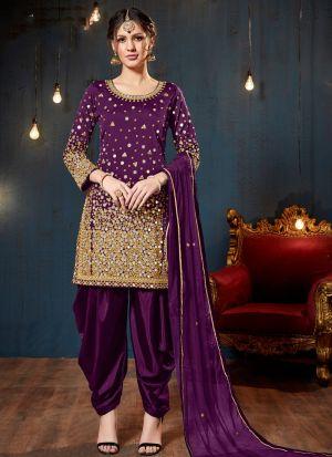 Purple Taffeta Silk Eid Collection Salwar Suit