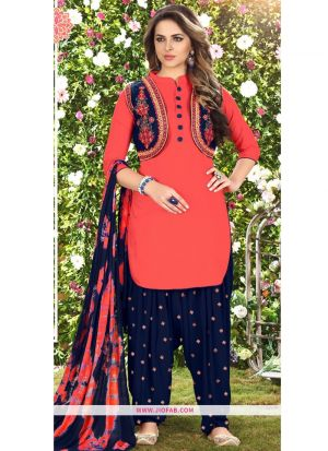 Queen Of Patiyala 8001 Red Glaze Cotton Punjabi Suits For Women