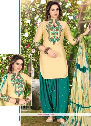 Queen Of Patiyala 8003 Light Yellow Glaze Cotton Designer Salwar Suit