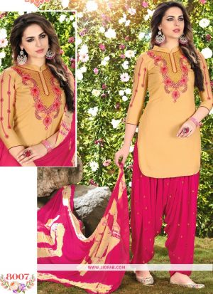 Queen Of Patiyala 8007 Yellow Glaze Cotton Punjabi Suits For Women
