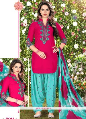 Queen Of Patiyala 8011 Pink Embroidered Traditional Salwar Suit