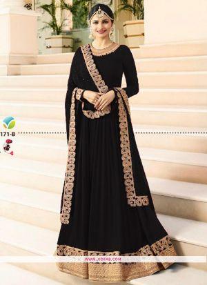 Raj Mahal 7171 Black Georgette Wedding Anarkali Salwar Suit
