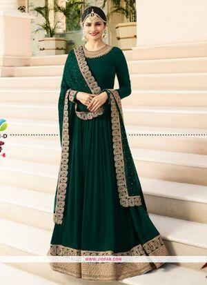 Raj Mahal 7171 Teal Green Georgette Traditional Anarkali Salwar Suit
