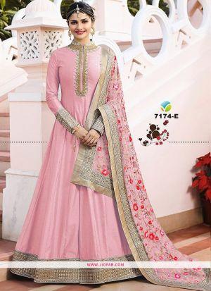 Raj Mahal 7174 Pink Embroidered Designer Floor Length Salwar Suit
