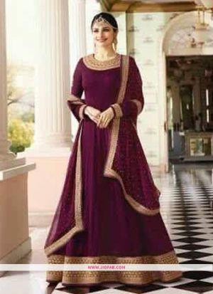 Raj Mahal 7175 Dark Purple Embroidered Designer Floor Length Salwar Suit