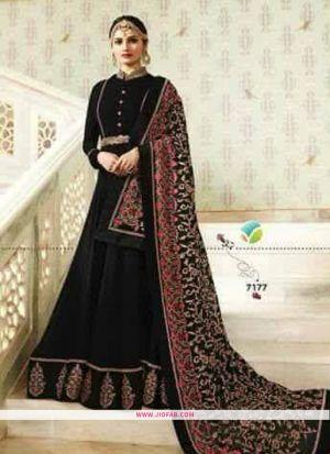 Raj Mahal 7177 Black Foux Georgette Wedding Anarkali Salwar Suit