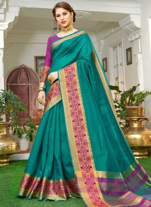 Rama Handloom Silk Beutiful Wedding Saree