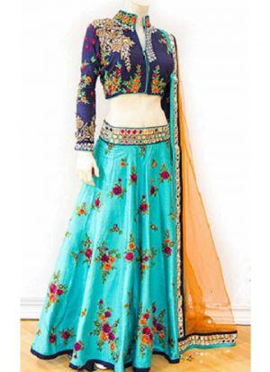 Rama Heavy Embroidery Mirror Work Banglori Silk Designer Lehenga