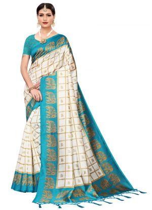 Rama Printed Art Silk Designer Traditional Saree