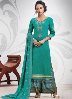 Rama Ruby Silk Cotton Designer Palazzo Salwar Suit