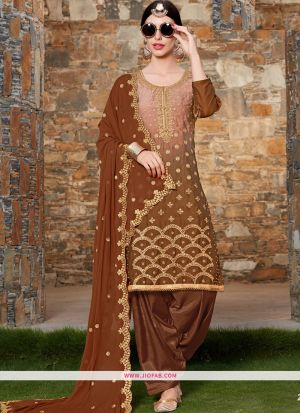 Rangoli Embroidered Coffee Color Dress Material