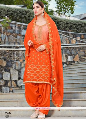Rangoli Embroidered Orange Color Dress Material