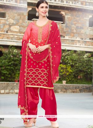 Rangoli Embroidered Pink Color Dress Material