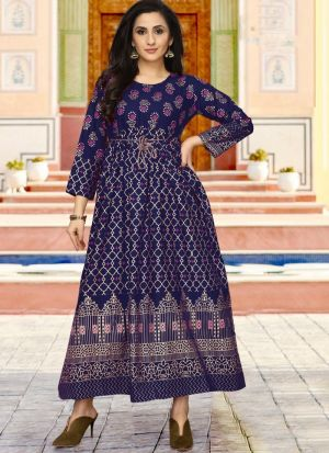 Rayon Blue Colour Fancy Causal Wear Kurti For Women