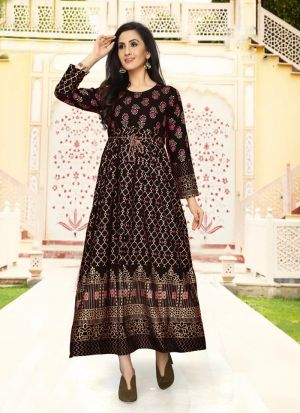 Rayon Coffee Colour Fancy Causal Wear Kurti For Women
