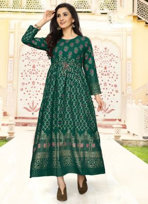 Rayon Green Colour Fancy Causal Wear Kurti For Women