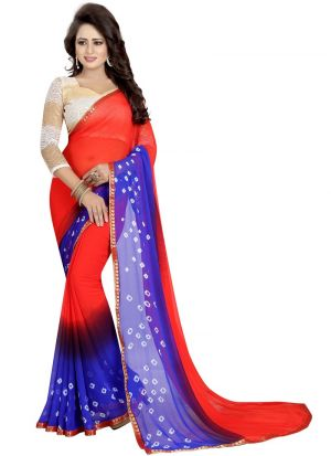 Red And Blue Chiffon Daily Use Bandhani Saree