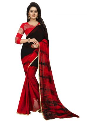 Red Chiffon Daily Use Saree