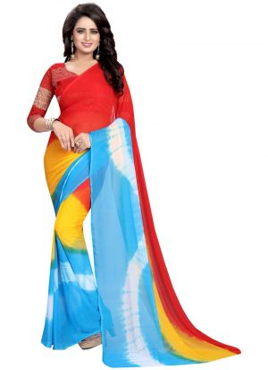 Red Chiffon Designer Saree