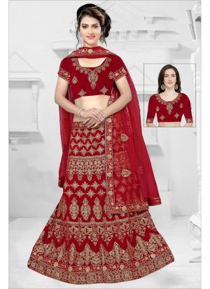 Red Color 9000 Velvet Bridal Lehenga Choli Collection